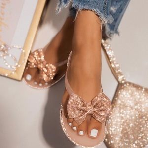 Nude Jelly Rhinestone Bow Thong Sandals
